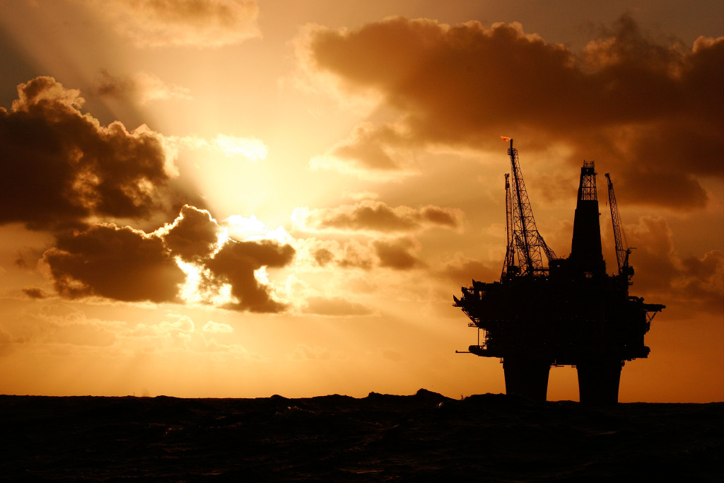 Silhouette of the Statfjord Bravo production platform in the Norwegian section of the North Sea, September 2007